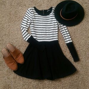 Express black and white striped sweater dress